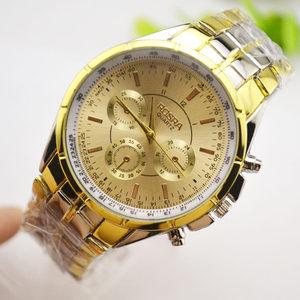 商务简金钢带手表中老年人手表男女款大数字手表复古大表盘石英表