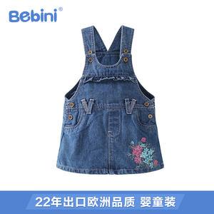 婴儿衣服纯棉背心吊带牛仔裙短款女童背带连衣<span class=H>裙子</span>2018新款女款