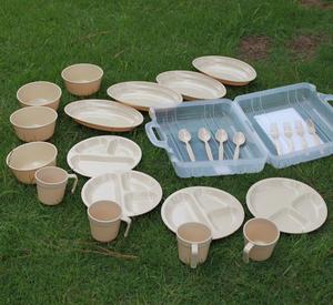 户外碗便携式24件套野营餐具四人组环保野餐包<span class=H>野炊</span><span class=H>用品</span>野餐碗套装
