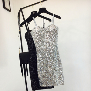 欧洲站2019夏装新时尚款女装低胸性感修身包臀闪亮片吊带连衣裙潮
