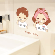 Cute bedroom, children's room, bathroom, ceramic tile, glass mirror decoration, toothbrushing, Removable Wall Stickers