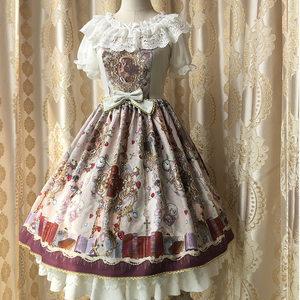 【殷天阁】国牌lolita复古天国花园印花雪纺原创JSK背带<span class=H>连衣裙</span>