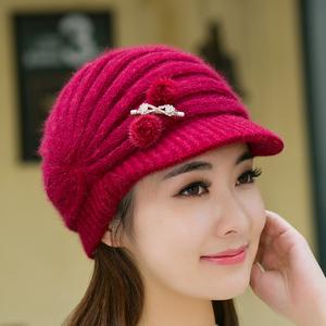 欢琳 帽子女冬天 韩版兔毛帽鸭舌贝雷帽保暖针织毛线帽秋冬季时尚