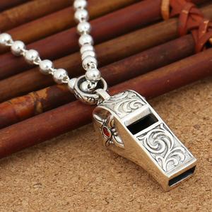 S925纯银饰品十字架带钻火焰纹吊坠哨子男女韩版项链搭配泰银项坠