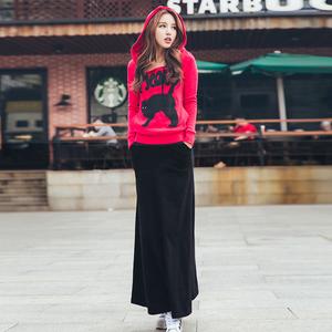 2018秋装韩版卫衣套装<span class=H>女装</span>玫红休闲时尚连衣裙长裙两件套修身显瘦