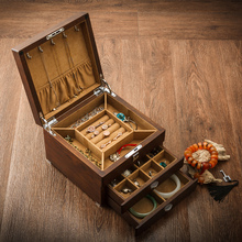 Yutao (Jewelry) Russian Old Elm Pure Wood Jewelry Box Multilayer Jewelry Collection Receiving Box with Lock