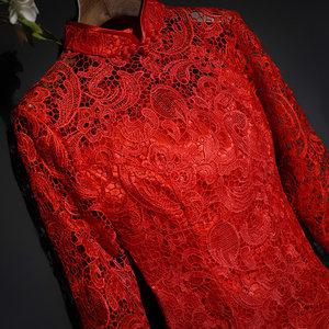 2018新娘结婚旗袍短款蕾丝鱼尾礼服修身红色连衣裙<span class=H>敬酒服</span>五分袖