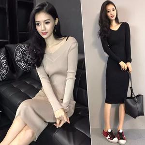 2018春装新款修身性感v领针织长裙韩版长袖中长款包臀打底连衣裙