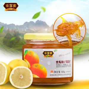 来客蜜蜂蜜柚子茶 新鲜<span class=H>冲饮</span>蜜炼水果肉果味茶500g