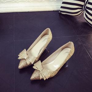 婚鞋金色亮片尖头高跟鞋细跟性感<span class=H>银色</span><span class=H>蝴蝶结</span>单鞋气质中跟伴娘<span class=H>女鞋</span>