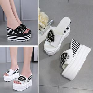 女坡跟鞋<span class=H>凉鞋</span>鞋跟鞋<span class=H>凉鞋</span>女水高跟拖鞋水钻水拖超高跟鞋内增高
