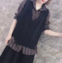 202tg春式女百搭tz甲针织背心V领宽松针织衫外套无袖上衣春装