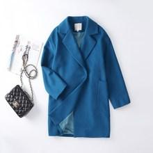 欧洲站th毛大衣女2is时尚新式羊绒女士毛呢外套韩款中长式孔雀蓝