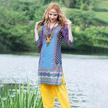 印度女th纯棉印花特la风异域风上衣复古舒适七分袖春夏式服饰
