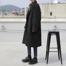 MRCthC冬季韩款la式加厚呢大衣宽松休闲帅气黑色翻领毛呢外套