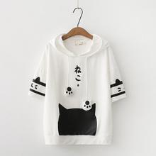 202th夏季新式女hs猫咪印花拼色短袖卫衣宽松少女学生闺蜜装女