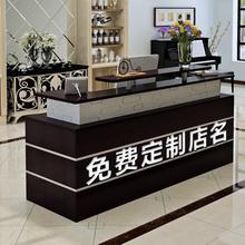 收银台th理石纹简约3r气柜台吧台桌(小)型超市理发店前台接待台