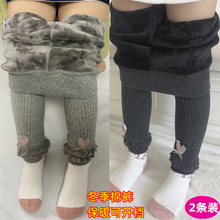 女宝宝th穿保暖加绒ts1-3岁婴儿裤子2卡通加厚冬棉裤女童长裤