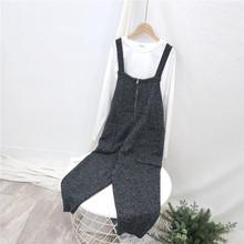 201th韩款个性休24新式毛线休闲裤 大口袋宽松女式针织背带裤