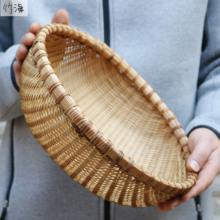 竹竹编th农家用竹筐24手工竹编 筛子复古烟熏圆馒头筐