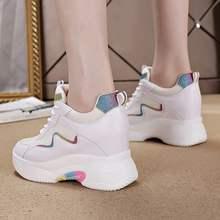 正品牌轩th1耐克泰老ab季新款厚底内增高女鞋8cm增高(小)白鞋