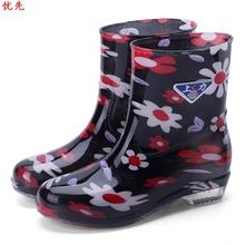 202th雨鞋女士短ab防滑防水可爱中筒水鞋韩款加绒保暖雨靴水靴