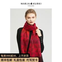 MARthAKURKab亚古琦红色格子羊毛围巾女冬季韩款百搭情侣围脖男