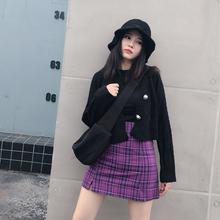 紫色格th双开叉半身abs超火的包臀防走光高腰显瘦a字短裙春季女