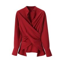 XC th荐式 多wbe法交叉宽松长袖衬衫女士 收腰酒红色厚雪纺衬衣