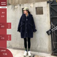 吱呤 th2019秋ea韩款保暖毛绒羊羔毛设计感宽松中长式女