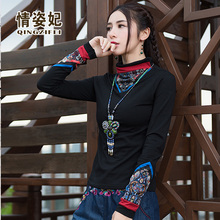 中国风th码加绒加厚bi女民族风复古印花拼接长袖t恤保暖上衣