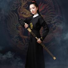 古装汉th女中国风原bi素学生侠女圆领长袍唐装英气