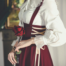 弥爱原th 芙蕾 法bi赫本高腰绑带背带裙2020春式长裙显瘦宫廷