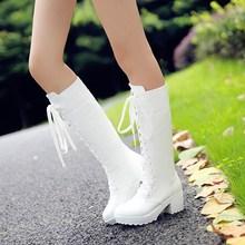 秋冬 th2019新bicos鞋白色黑色高筒前系带马丁靴中跟靴子