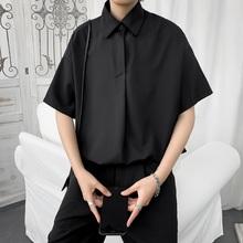夏季薄th短袖衬衫男bi潮牌港风日系西装半袖衬衣韩款潮流上衣服