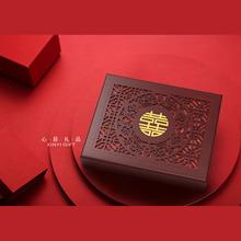 国潮结th证盒送闺蜜bi物可定制放本的证件收藏木盒结婚珍藏盒