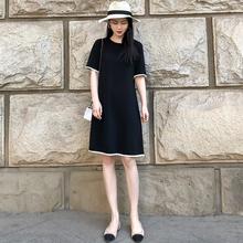 赫本(小)th裙2021bi韩款女士气质显瘦直筒裙子夏宽松雪纺连衣裙