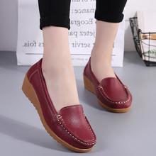 护士鞋th软底真皮豆bi2018新式中年平底鞋女式皮鞋坡跟单鞋女