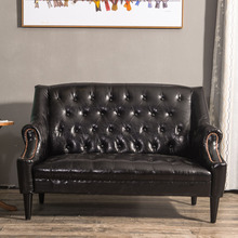 欧式双th三的沙发咖bi发老虎椅美式单的书房卧室沙发