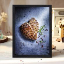 牛排店th画牛扒西餐biT骨牛排挂画丁字牛排实木框墙面装饰画
