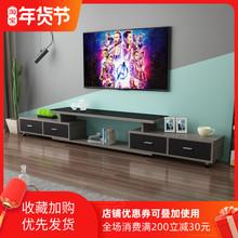 简约现代(小)户th3钢化玻璃bi柜茶几组合伸缩北欧简易电视机柜