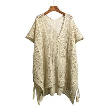 大码针th0镂空罩衫bi式宽松中长式比基尼泳衣防晒外套沙滩裙