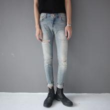 GD权th龙同式手工bi仔裤潮男时尚青少年浅色中腰弹力(小)脚裤子
