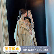 YUQth卡其色风衣bi20年春季流行气质英伦风长式翻领宽松外套大衣