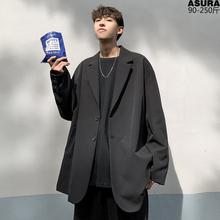 韩风cthic外套男bi松(小)西服西装青年春秋季港风帅气便上衣英伦