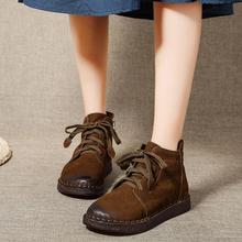 短靴女th2021春bi艺复古真皮厚底牛皮高帮牛筋软底缝制马丁靴
