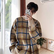 MRCthC冬季拼色bi织衫男士韩款潮流慵懒风毛衣宽松个性打底衫