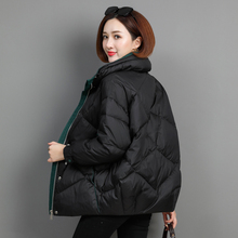 羽绒服th2020新bi韩款短式宽松时尚百搭白鸭绒妈妈立领外套