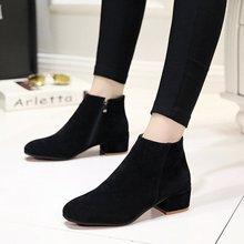 3厘米th跟黑色马丁bi英伦复古高跟低帮圆头粗跟磨砂低筒短靴