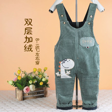 婴幼儿th绒背带裤双bi可开裆男宝宝1-2-3岁女童保暖灯芯绒裤